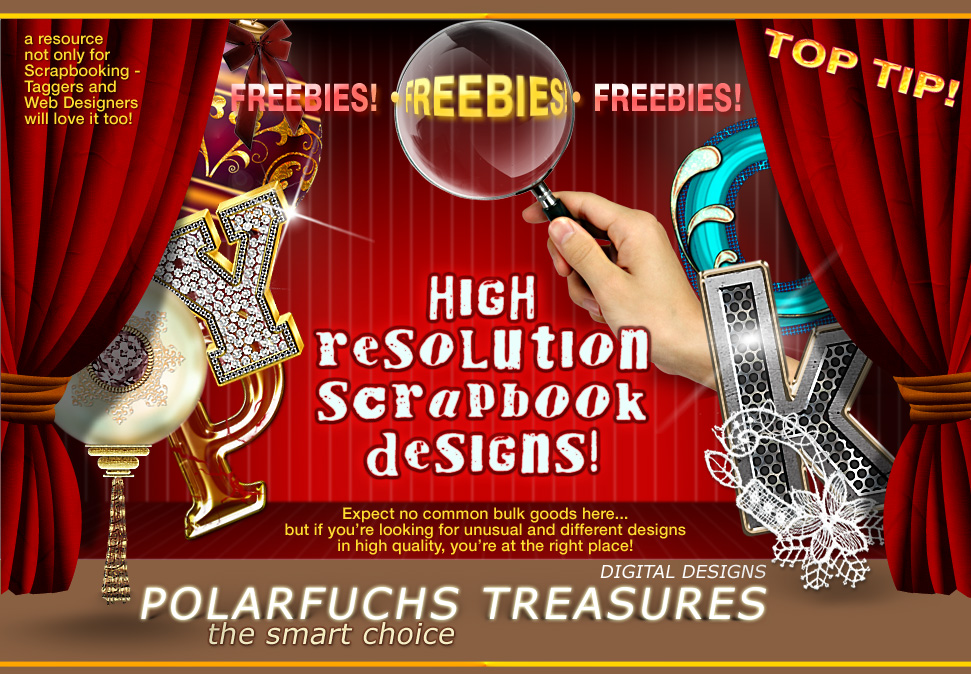 PERFECT DIGITAL DECORATIONS and SCRAPBOOK EMBELLISHMENTS FROM POLARFUCHS TREASURES