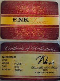 1 Dinar Enk Certificate