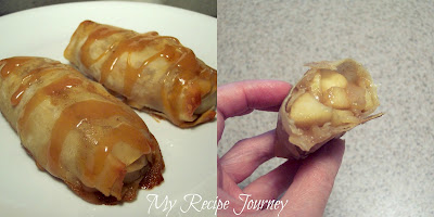 Apple Pie Egg Rolls with a Caramel Drizzle