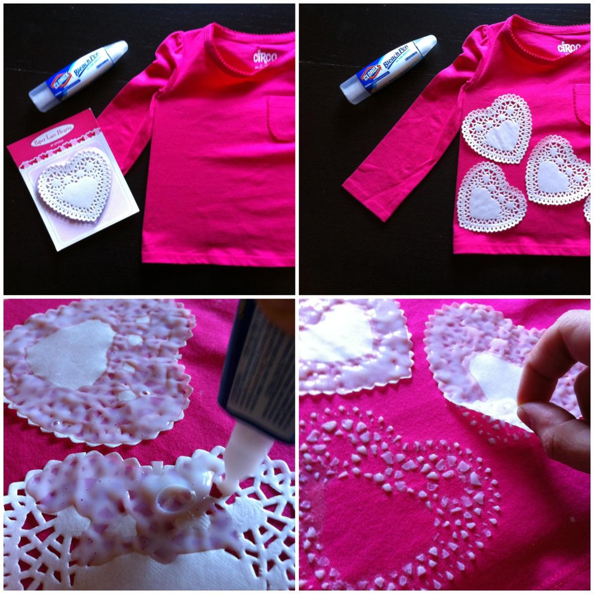 A childhood list 142 diy doily heart print t shirt for Diy tee shirt printing