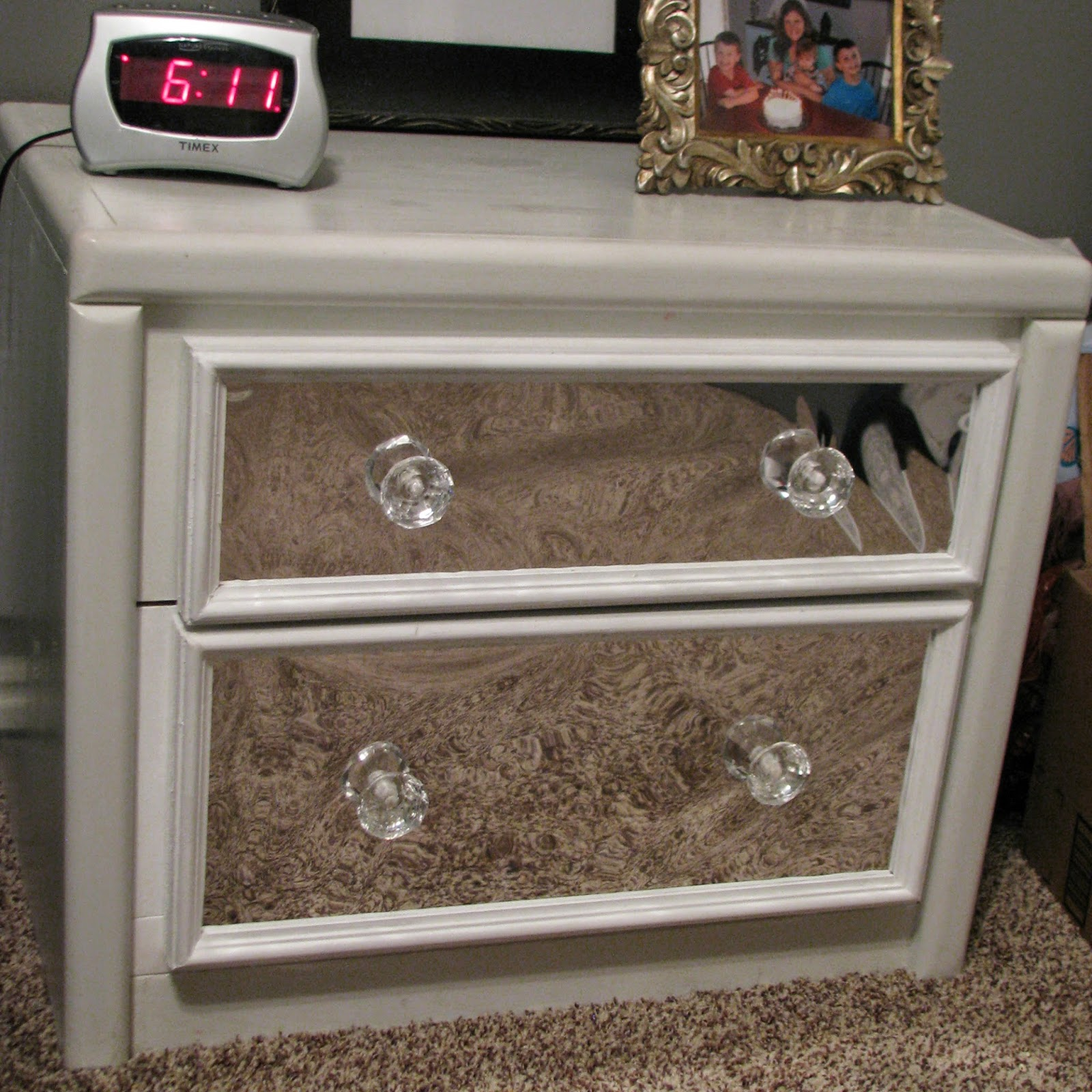 how to make mirrored furniture. i love it now just need to do this the other nightstand how make mirrored furniture