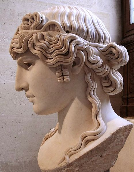 "... bust of Antinous, c. 130 AD."" Image Source: Wiki via Ancient Hair"