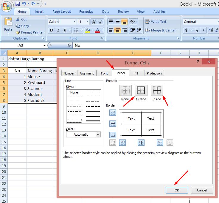 2 Cara Membuat Tabel di Excel 2007