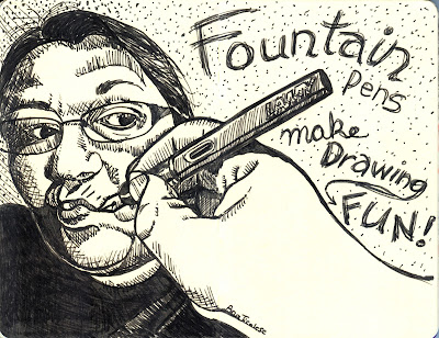 Fountain Pens Make Drawing Fun! - Self Portrait in Ink - Pen and Ink, rendered by Ana Tirolese ©2012