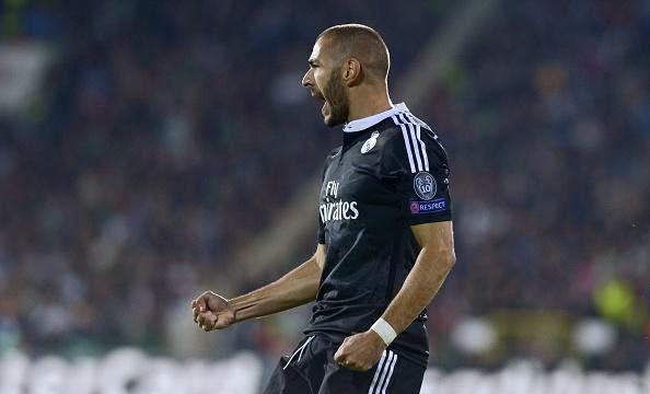 Benzema celebrando el gol ante Ludogorets