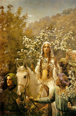 Guinevere's Maying, by John Collier (1850-1934) as seen on linenandlavender.net - http://www.linenandlavender.net/2013/05/magic-and-merlin-archetype.html