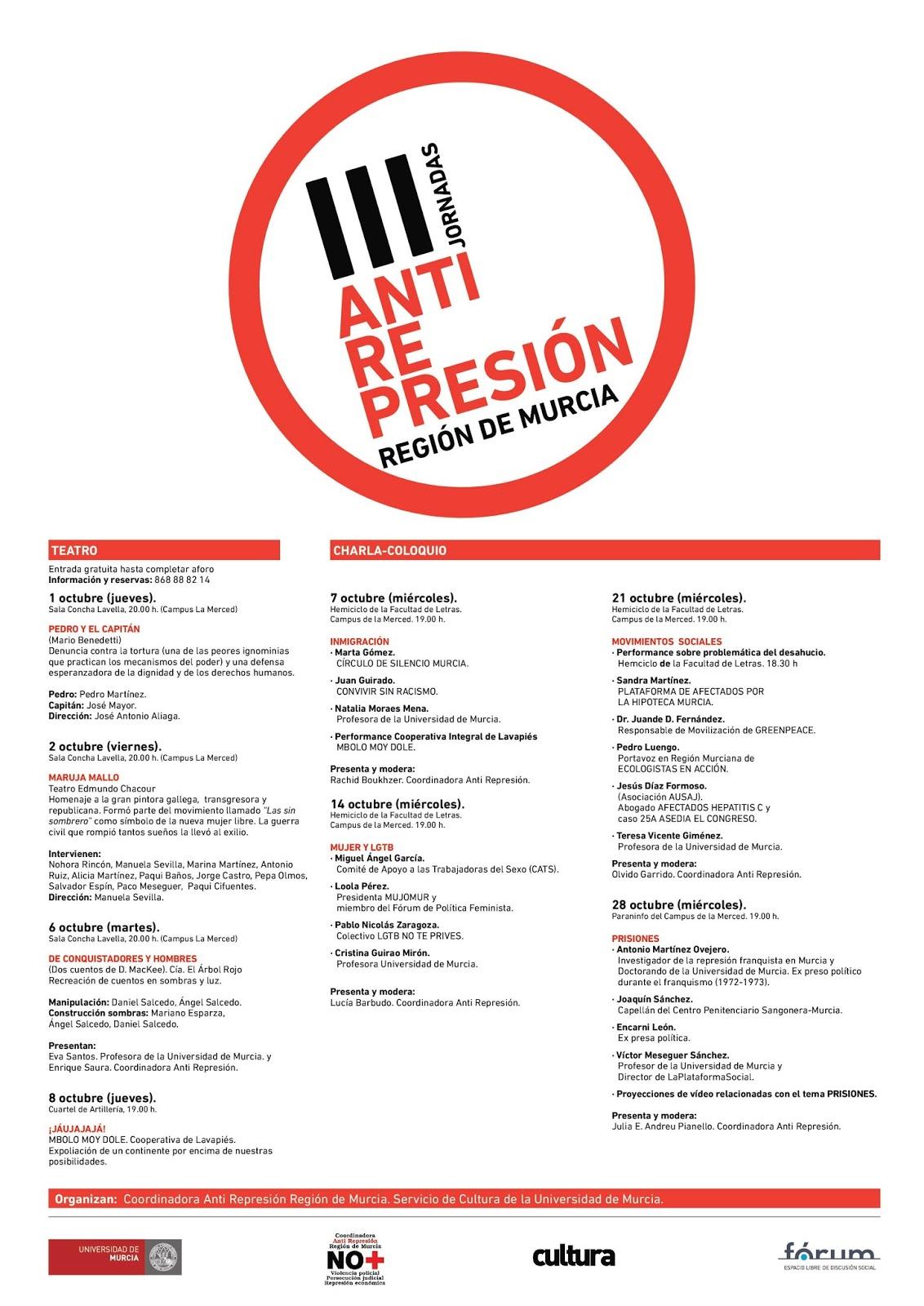 Jornadas octubre Anti Represión RM