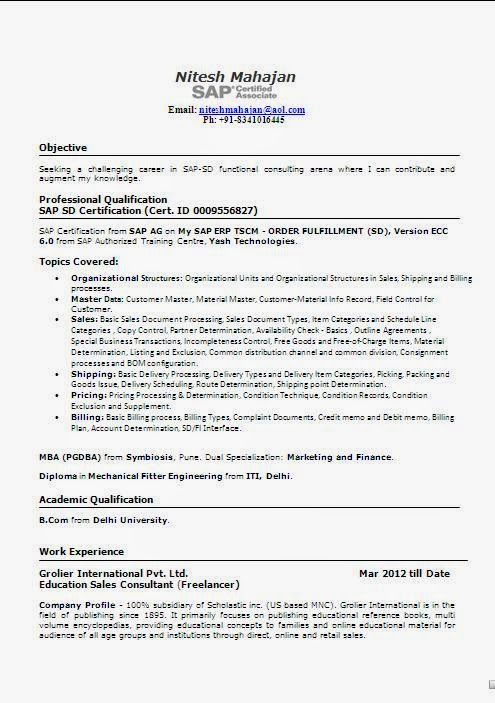 sap sd resume 5 years experience