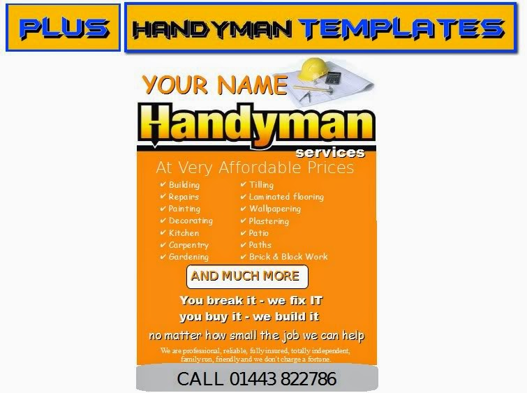 handy man leaflets flyer business cards business start up pack business templates forms. Black Bedroom Furniture Sets. Home Design Ideas