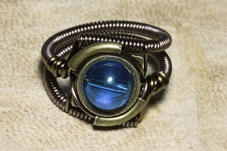 Steampunk Jewelry - Ring - Light Sapphire Blue