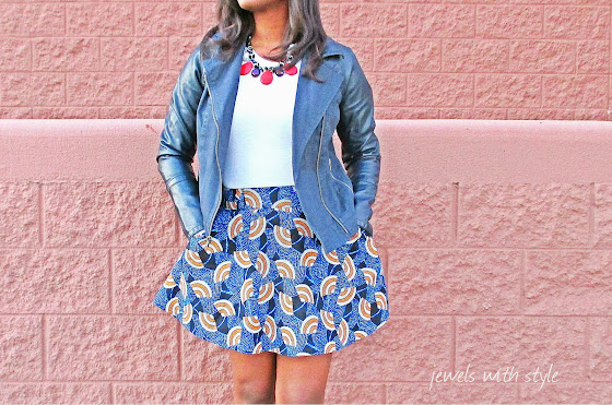 M Renee Design, fashion blogger, forever 21 skirt,faus leather jacket, leather jacket, jewels with style, black fashion blogger