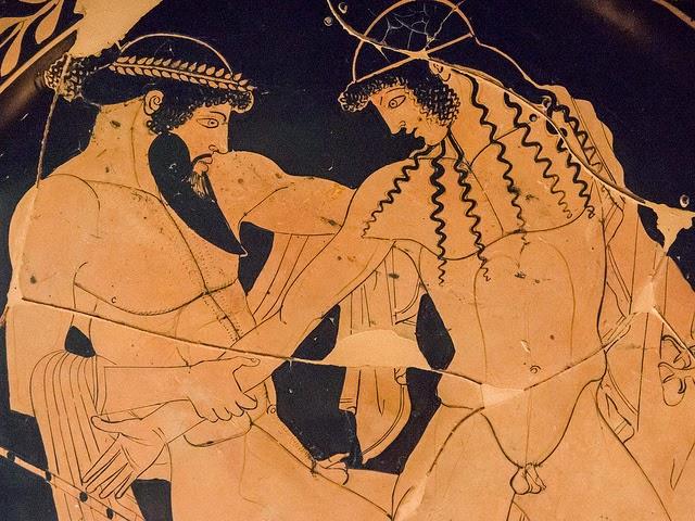 Pintor de Pentesilea, Zeus cortejando a Ganimedes (detalle de cerámica griega, h.450 a.C.)  Museo Arqueológico Nacional, Ferrara