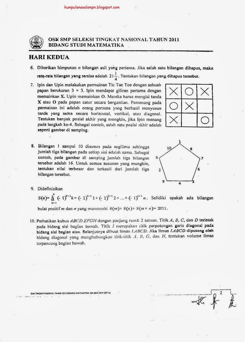 Kumpulan Soal Osn Smp Matematika Ta 2011 2012 Kumpulan Soal Dan Prediksi Ujian Nasional Smp