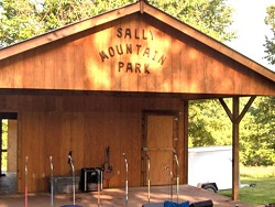 The stage at the Sally Mountain Show Bluegrass festival nestled in the mountains of Missouri