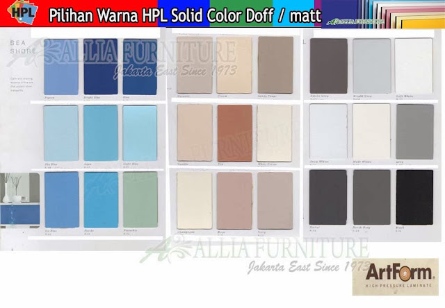 003.HPL solid color warna Art form doff