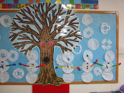 the pa-paw patch, winter theme, preschool winter theme, winter bulletin board