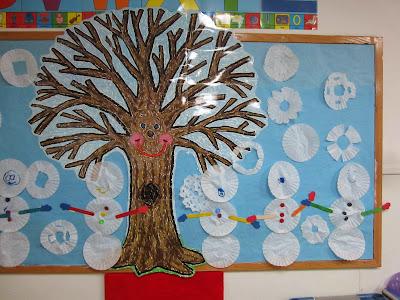 the pa-paw patch, winter theme, preschool winter theme, winter bulletin board