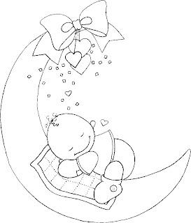 Risco para pintura de Bebê na Lua