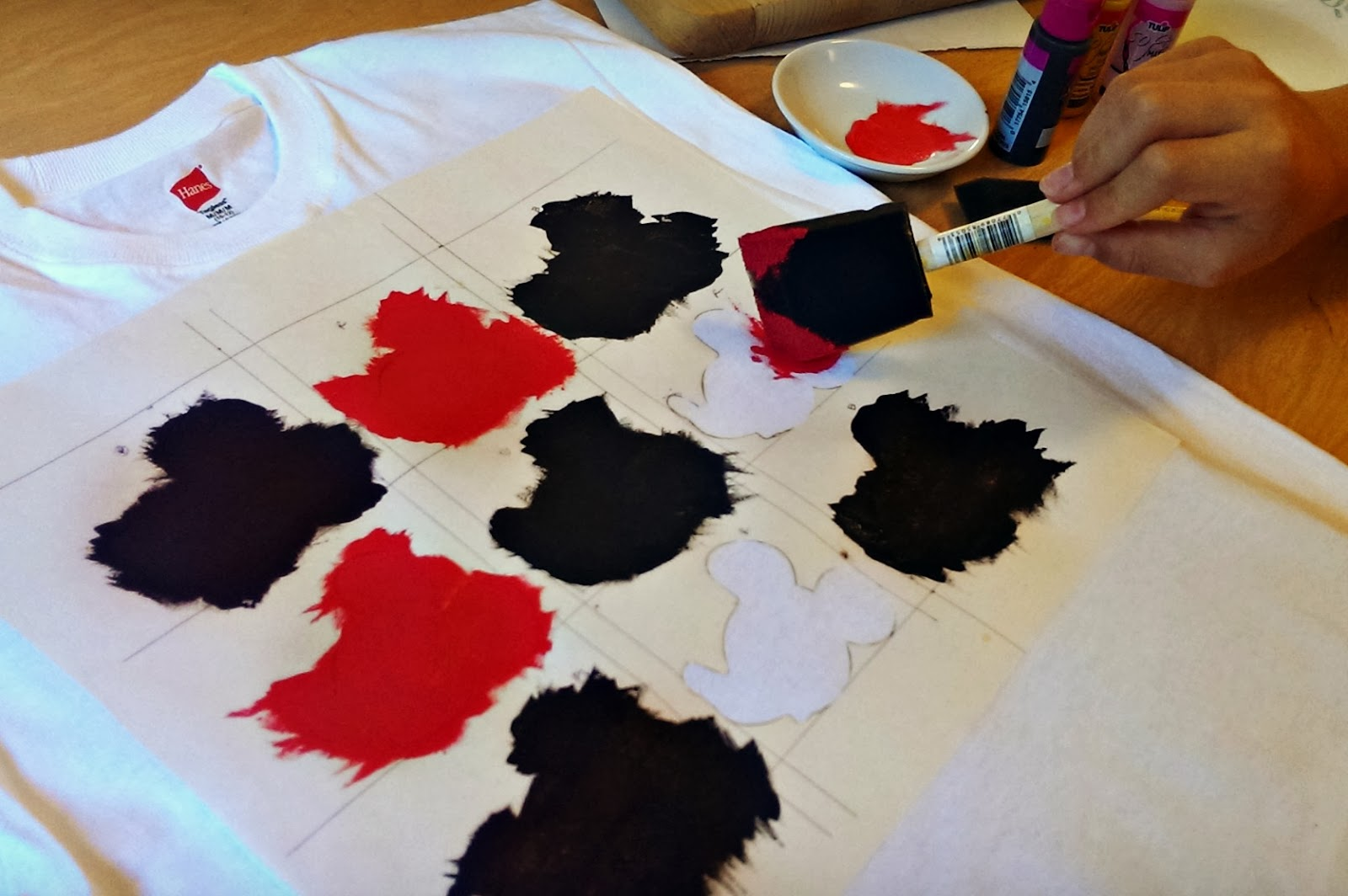DisneySide @Home celebration activity: Mickey t-shirt painting with freezer paper stencils