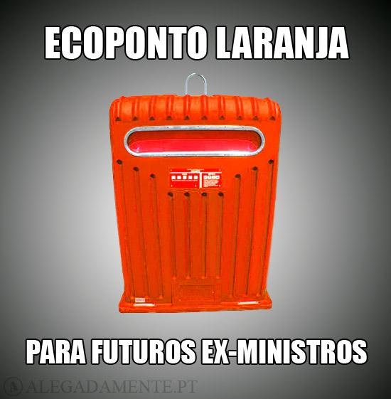 Imagem de um Ecoponto Laranja - Ecoponto Laranja, para futuros ex-ministros