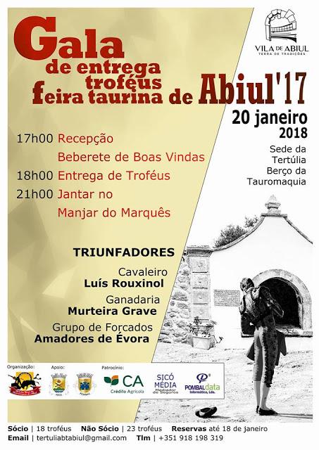ABIUL (PORTUGAL) 20-01-18 GALA DE ENTREGA TROFEUS FERUS FERIA TAURINA DE ABIUL 2017.