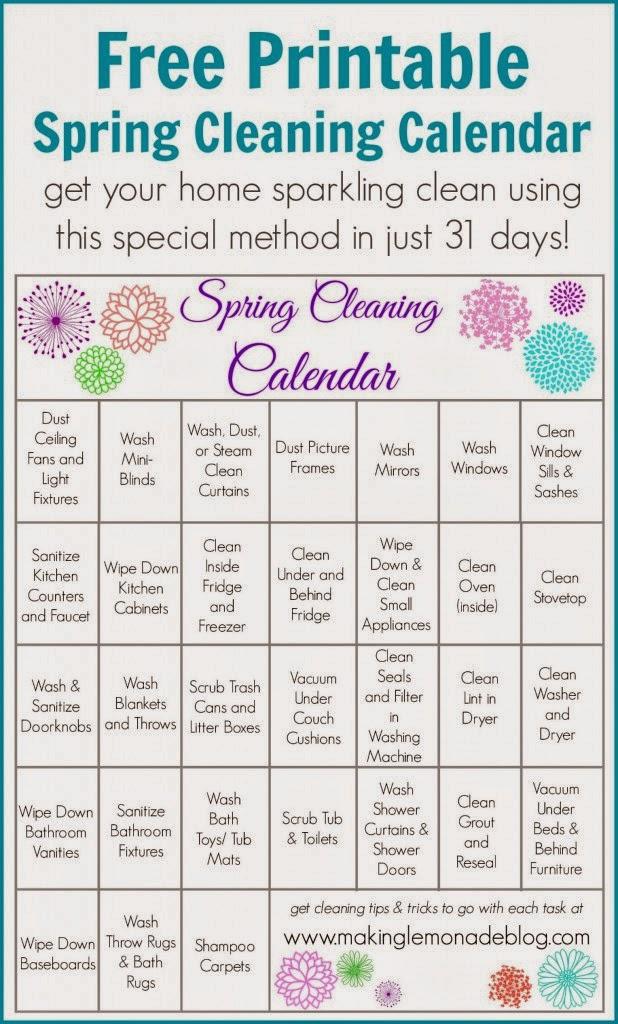 Spring Cleaning Printable Calendar :: OrganizingMadeFun.com