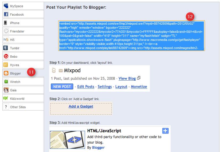 copier code html lecteur mp3 pour Blogger