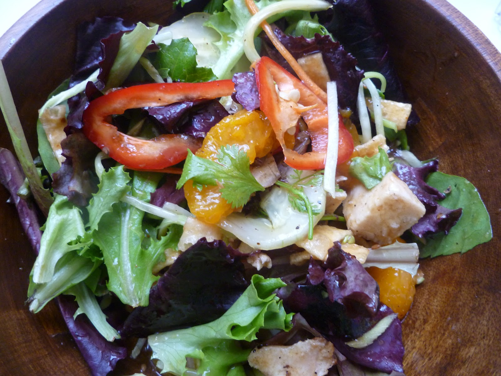 ... Chinese Chicken Salad With Crispy Wontons And Sesame Ginger Dressing