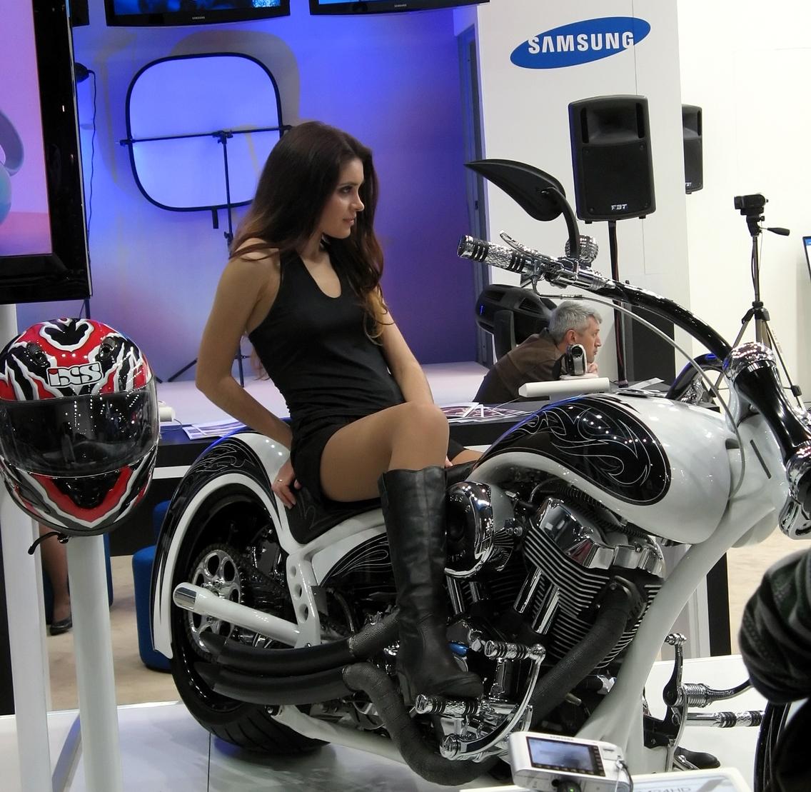 Moscow Brunette Model On Motor Bike