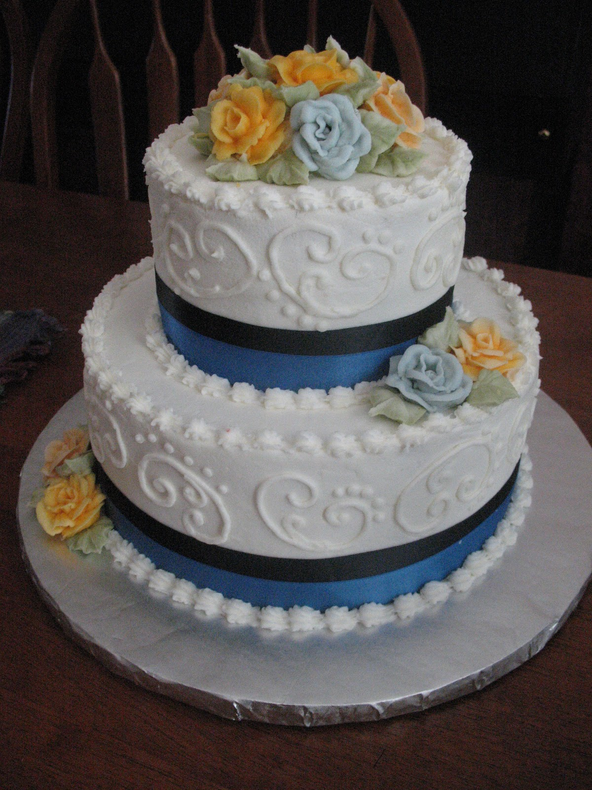 Wedding Cakes By Mary Ann Blue Navy Blue Anniversary Cake