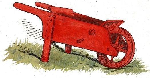 A red wheelbarrow