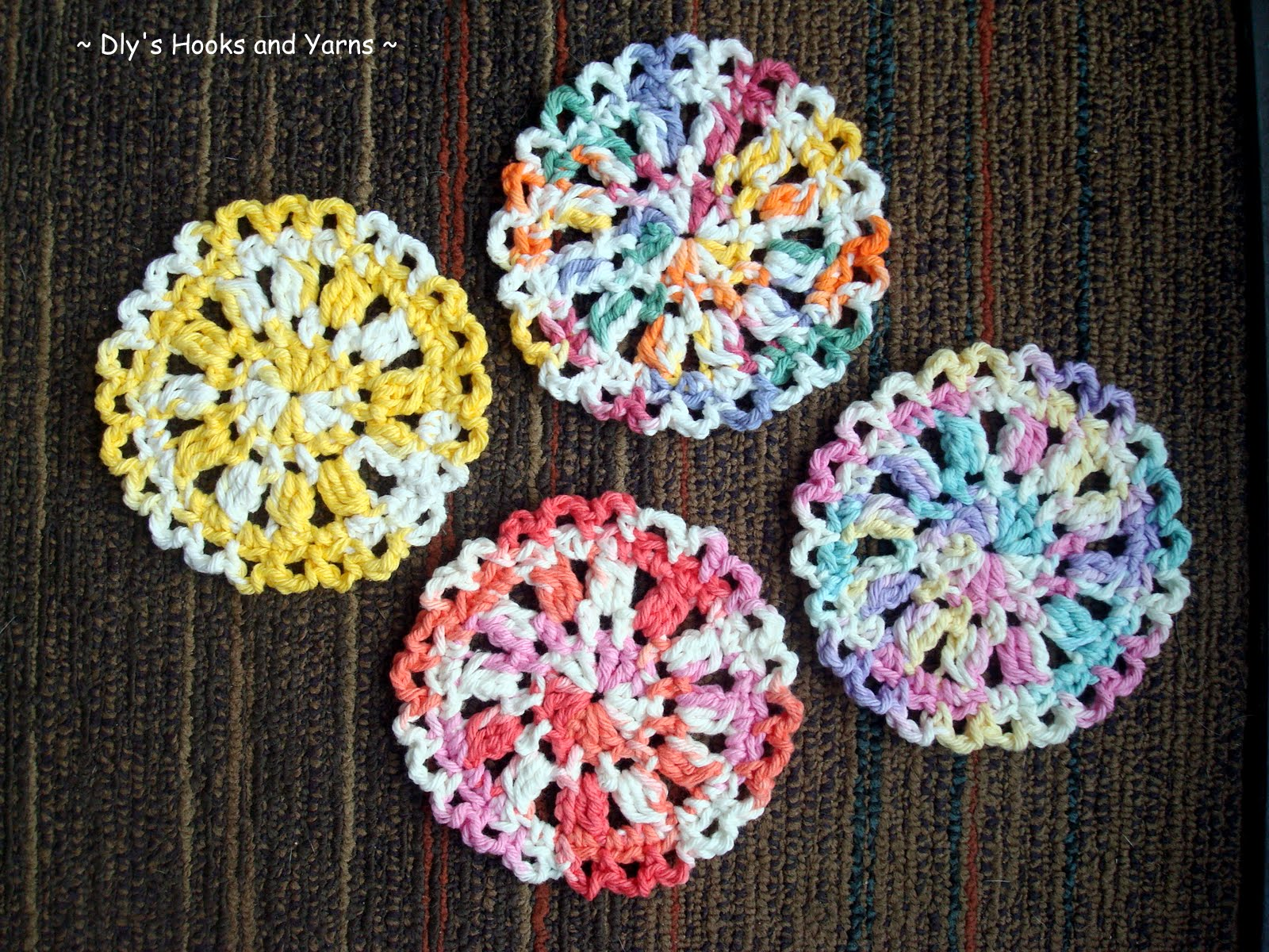 Crochet Patterns Coasters : ... crocheted these cute little coasters with pretty pastel variegated