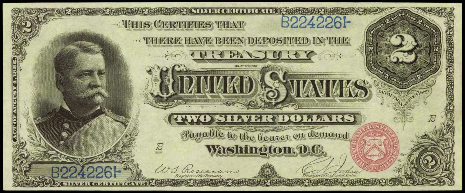 1886 Two Dollar Silver Certificate General Winfield Scott Hancock