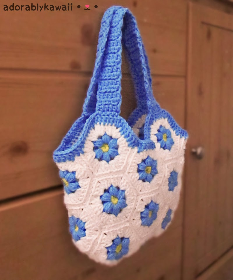Blue Flower Hexagon Bag Adorably Kawaii