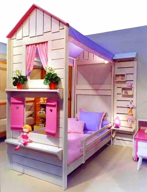 Cik rose cute dekorasi bilik tidur anak for Cama kawaii