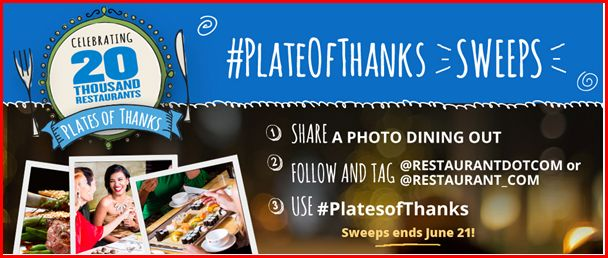 Restaurant.com Plates of Thanks Sweepstakes, Enter to Win the Plates of Thanks Sweepstakes by Restaurant.com. Restaurant.com Sweepstakes, Sweepstakes, #PlatesofThanks
