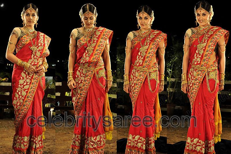 Taapsi In Orange Bridal Sari