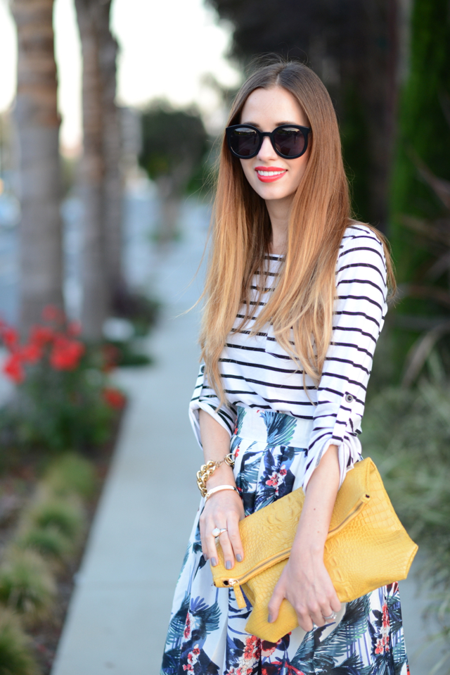 striped long sleeve top with midi skirt via M Loves M