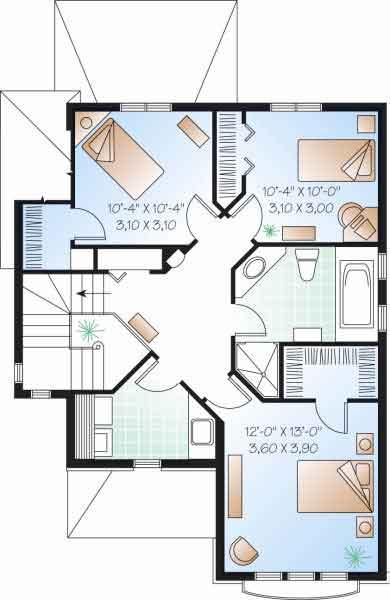 Proyecto de casa de 2 niveles y 3 dormitorios con garage for Planos de casas de 3 recamaras