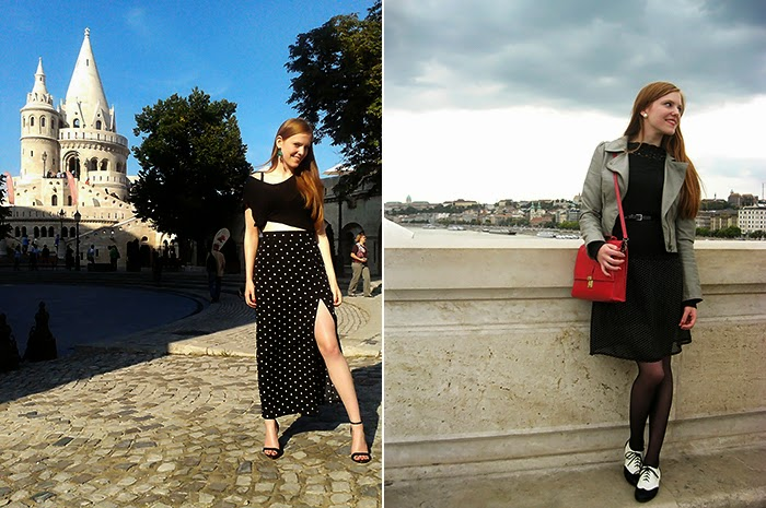 Budapest Fashion Blogger outfit polka dots crop top knotted knot