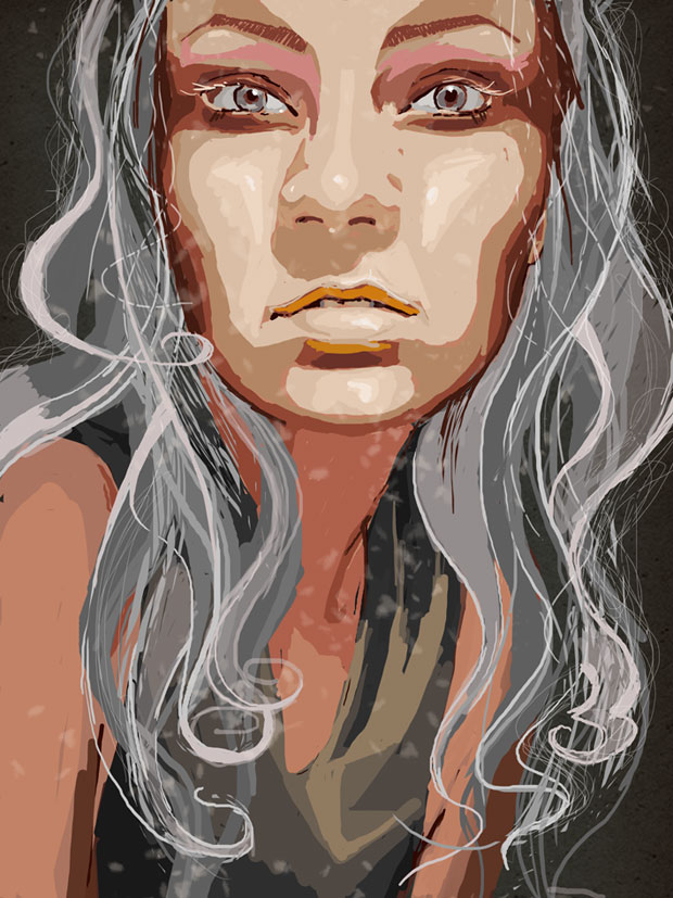 ilustracja na blogi do artykułów do wierszy opowiadań portrety na zamówienie  Urbaniak Katarzyna portrait digital illustration smoke grey hair hipnotizing mesmerizing look