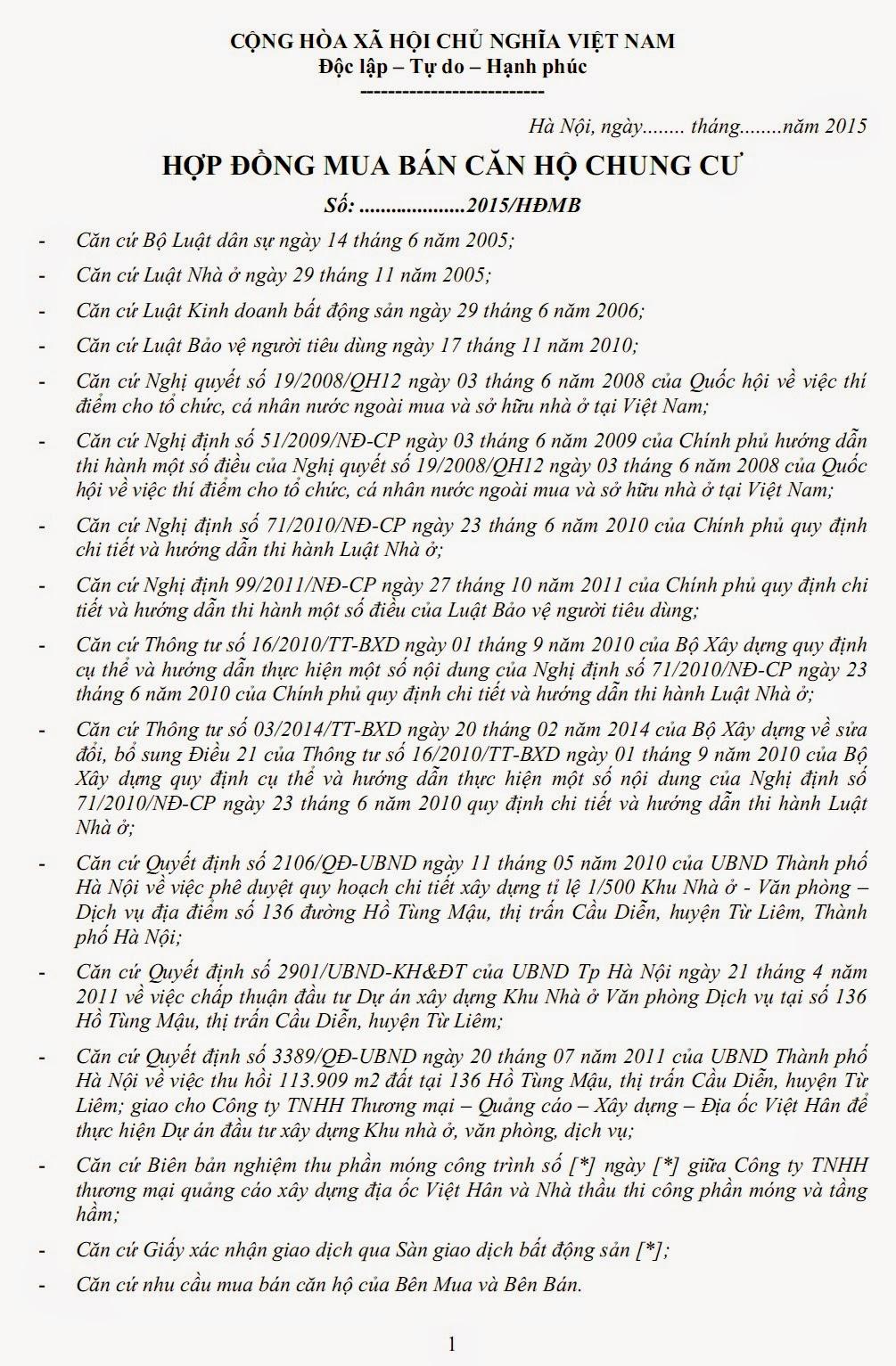 hợp đồng Chung Cư Goldmark City