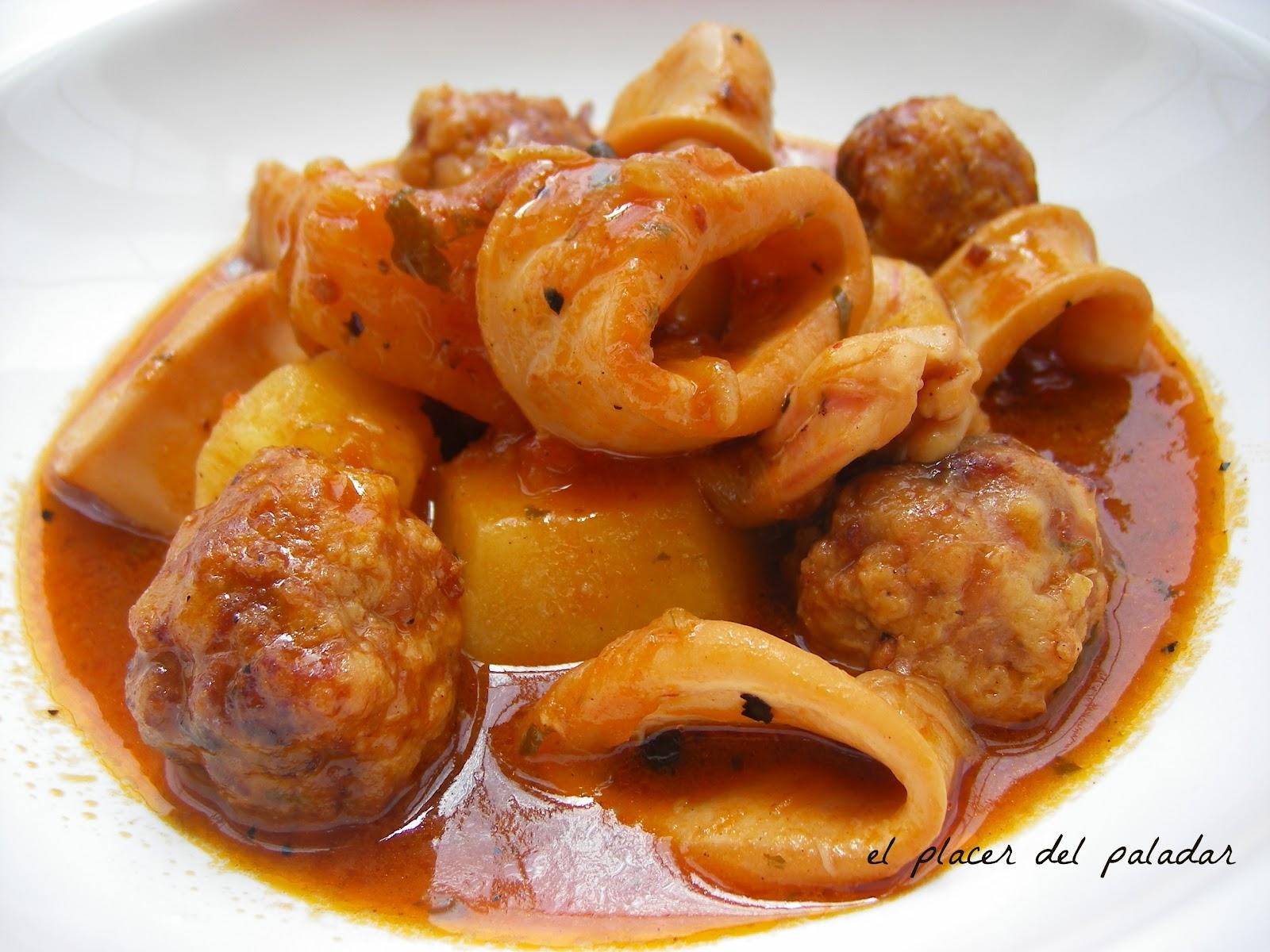 El placer del paladar guisado de alb ndigas y calamar - Albondigas de patata ...