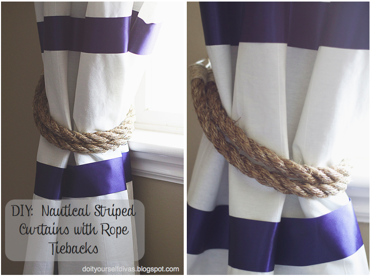 do it yourself divas: diy: no sew striped curtains with rope tiebacks