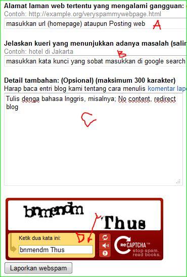 kategori spam google dan laporkan ke google webmaster