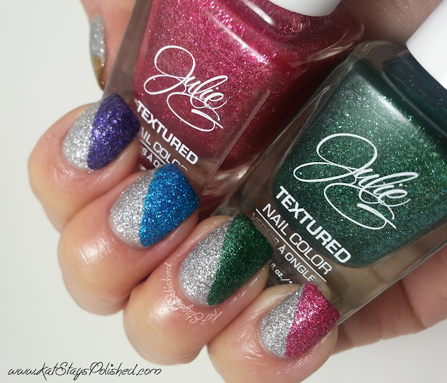 JulieG Holiday 2013 Frosted Gum Drops - Diagonal Nail Art