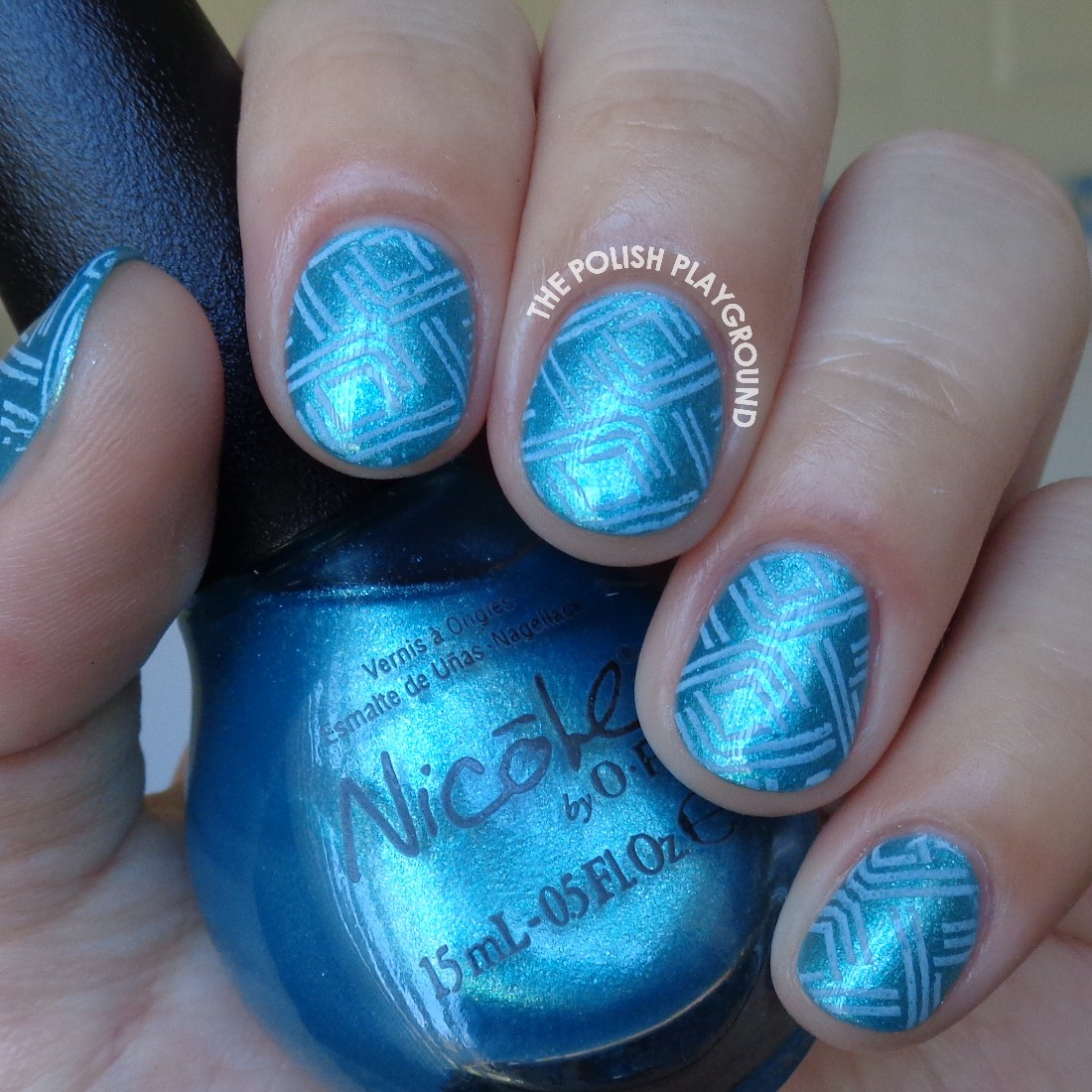 Blue Dashes Stamping Nail Art