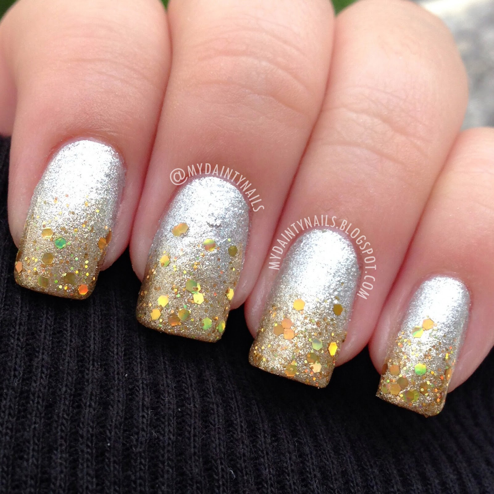 my dainty nails: silver & gold gradient/ombre nails