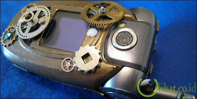 Steampunk flip cell phone