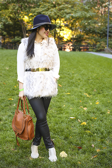 Zara faux fur vest with Ann Taylor faux leather jeans